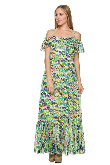 OFF SHOULDER MAXI DRESS WITH R - orangeshine.com