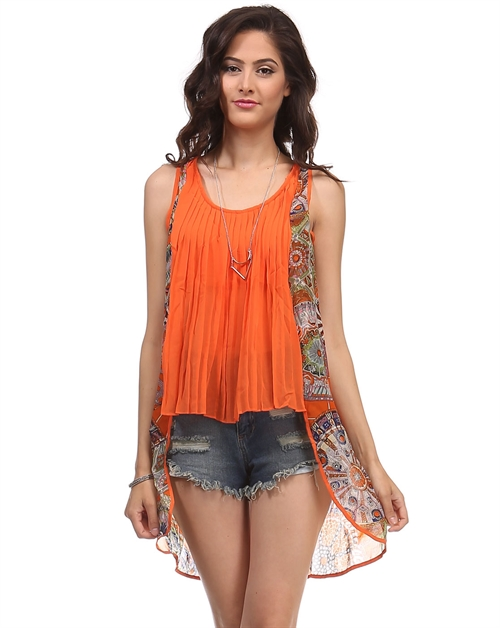 -Bohemian Printed Sheer Top - - orangeshine.com
