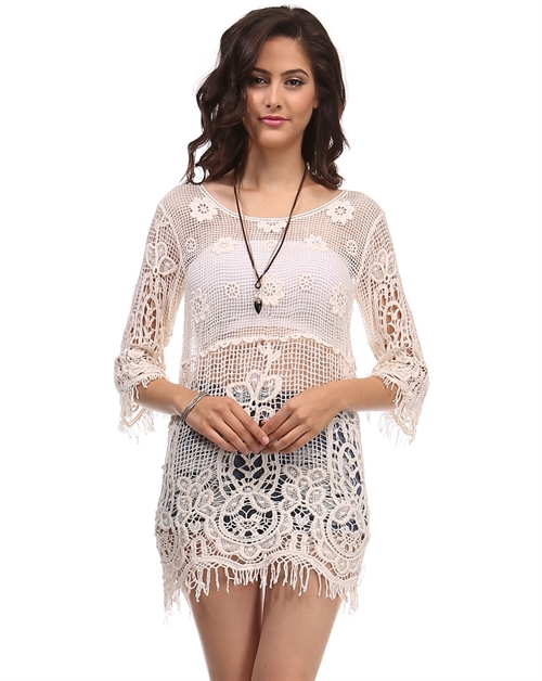 -Bohemian Crochet Cover Up - - orangeshine.com