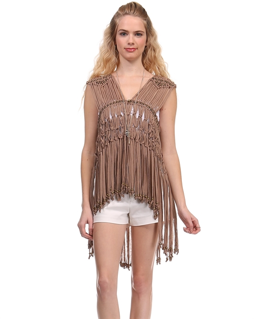 -Fringed Beaded Vest - - orangeshine.com