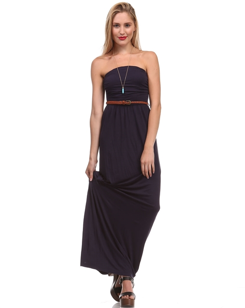 SOLID TUBE MAXI DRESS W BELT - orangeshine.com
