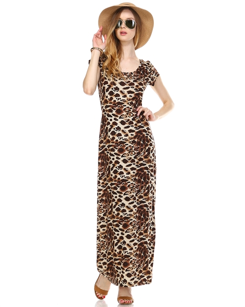 LEOPARD PRINT MAXI DRESS - orangeshine.com