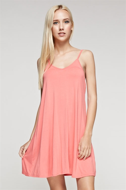 BAMBOO SOLID CAMISOLE DRESS - orangeshine.com
