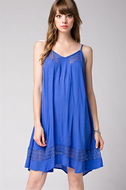 Lace-Trimmed Cami Dress - orangeshine.com