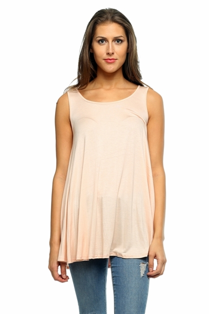 Solid Sleeveless Flared Tank - orangeshine.com