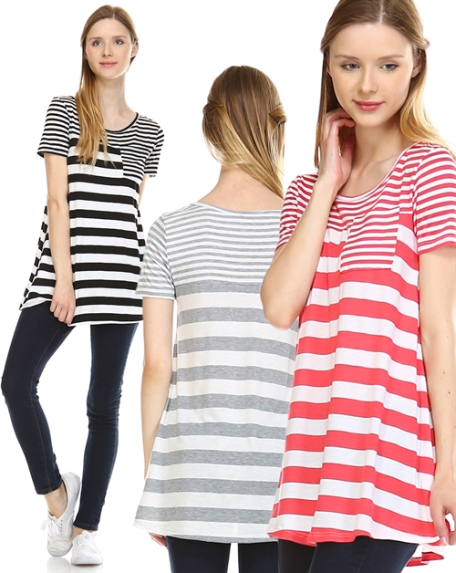 Stripe Top With Pocket - orangeshine.com