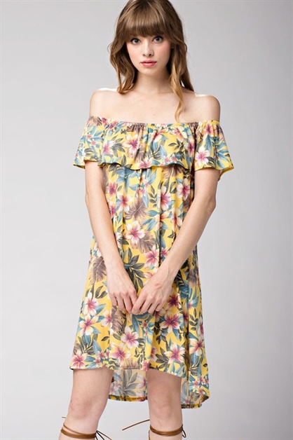 Tropical Floral Print Off-Shou - orangeshine.com
