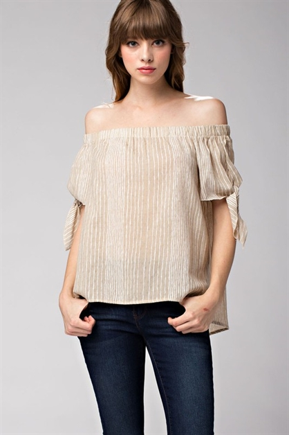 Striped Off-The-Shoulder Bow T - orangeshine.com