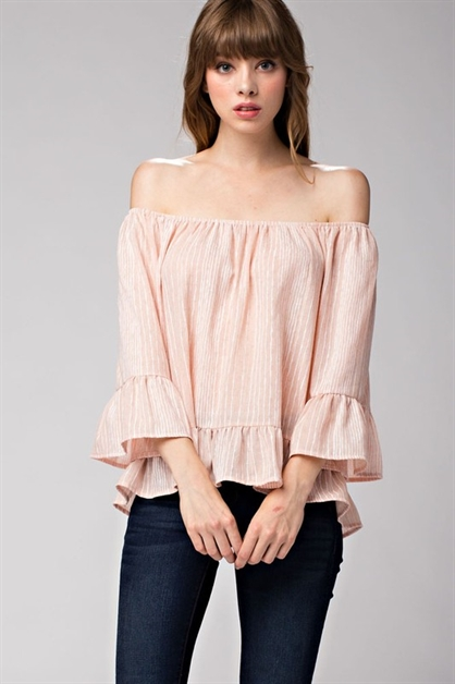 Striped Ruffle Hem Off-The-Sho - orangeshine.com