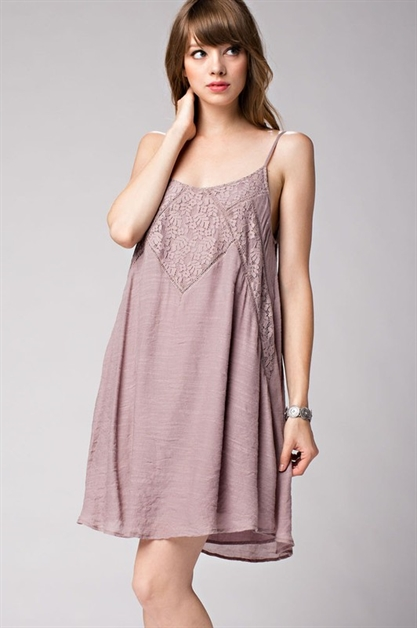 Lace-Paneled Cami Dress - orangeshine.com