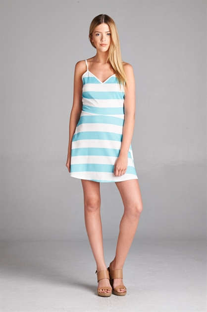 STRIPED FIT AND FLARE DRESS - orangeshine.com