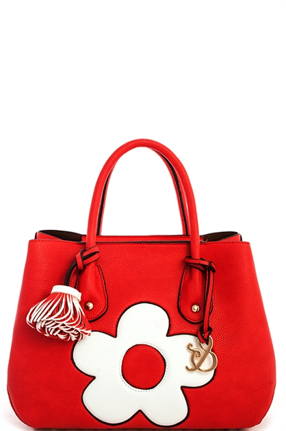 Designer Big Flower Satchel  - orangeshine.com
