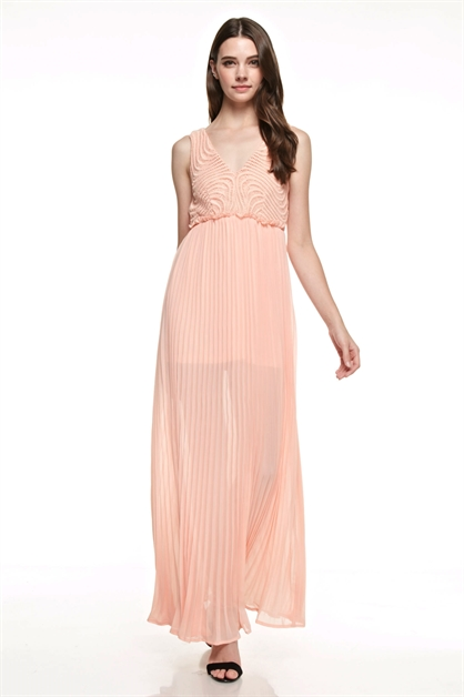 Pleated Maxi Dress - orangeshine.com