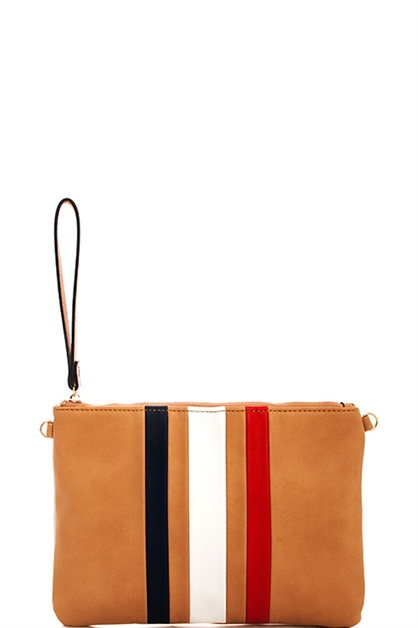 Stripe Clutch with Long Strap - orangeshine.com