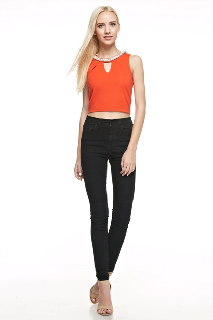 Embellished Solid Crop Top - orangeshine.com