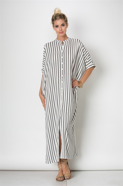 STRIPED BOXY BUTTON DOWN DRESS - orangeshine.com