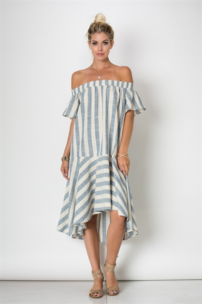 RUFFLE FLARE MAXI STRIPE DRESS - orangeshine.com