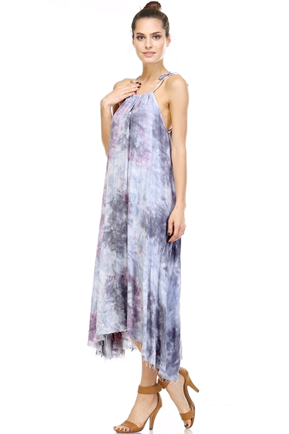 FADED DYE SELF-TIE DRESS - orangeshine.com