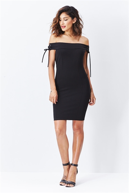 Vortex Lace Up Bodycon Dress - orangeshine.com