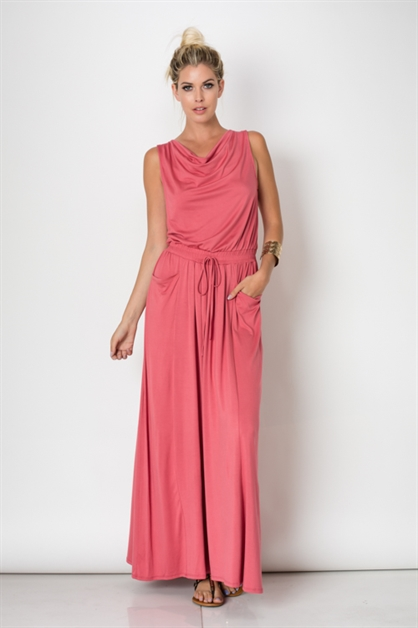 DRAWSTRING MAXI POCKET DRESS - orangeshine.com