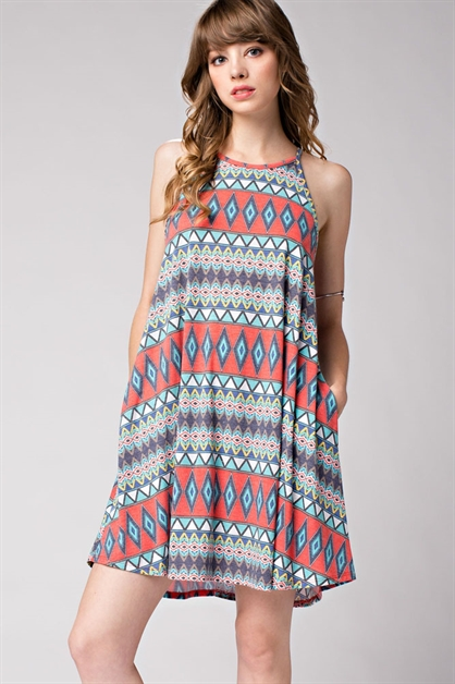 Geo Print Halter Dress - orangeshine.com