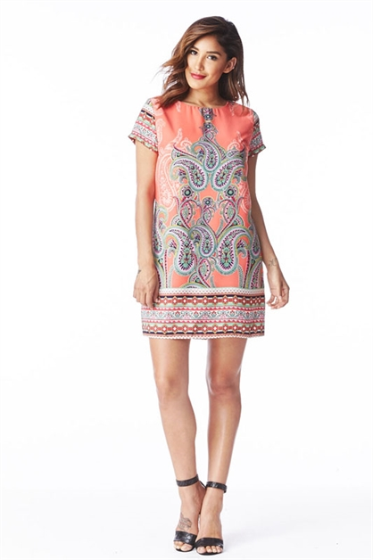 PAISLEY PRINT SHIFT DRESS - orangeshine.com