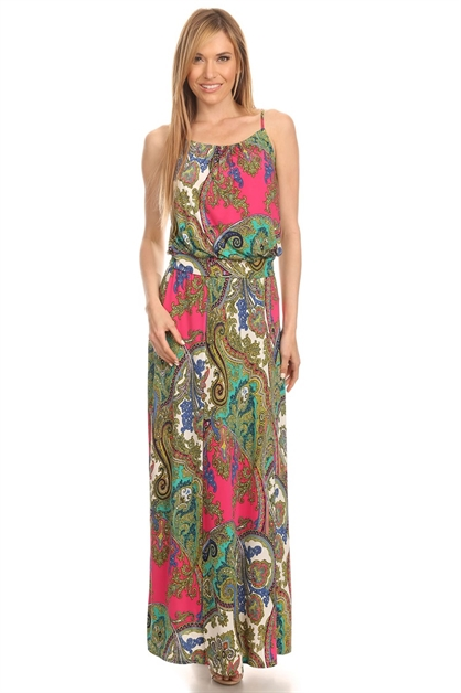 SLEEVELESS MAXI W/ RUCHED NECK - orangeshine.com