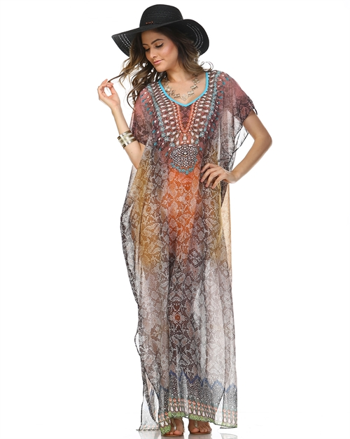 -Embellish Kaftan Maxi Dress  - orangeshine.com