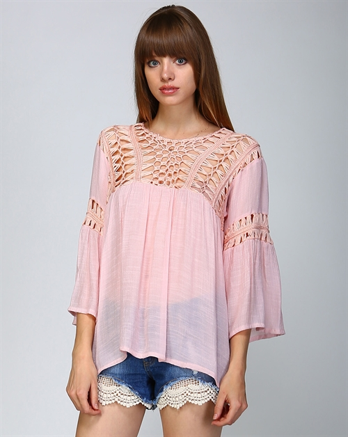 CROCHET BODICE PEASANT TOP - orangeshine.com