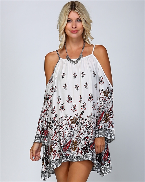 PAISLEY LACE PRINT MINI DRESS - orangeshine.com