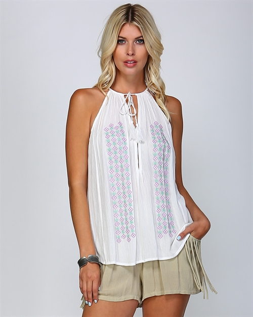 EMBROIDERED SLEEVELESS TOP - orangeshine.com