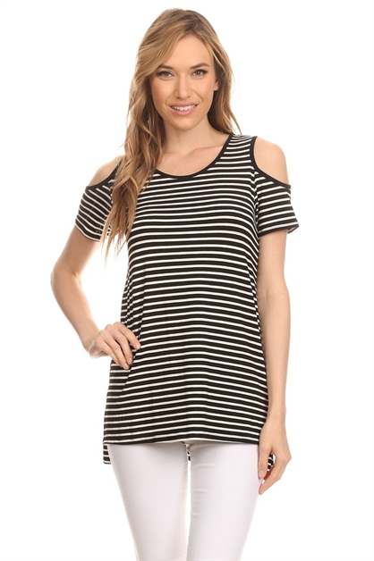 STRIPE COLD SHOULDER TOP - orangeshine.com