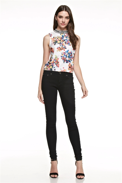 Embellished Floral Top - orangeshine.com