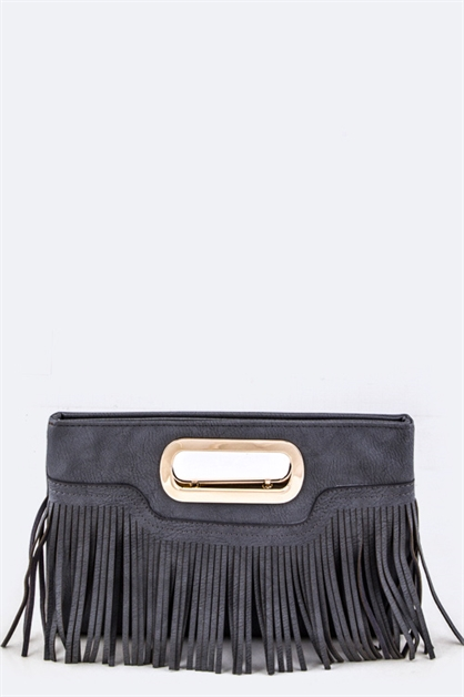 Fringe Leather Fashion Clutch - orangeshine.com