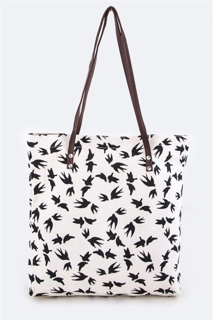 Swallow Pattern Fashion Tote - orangeshine.com