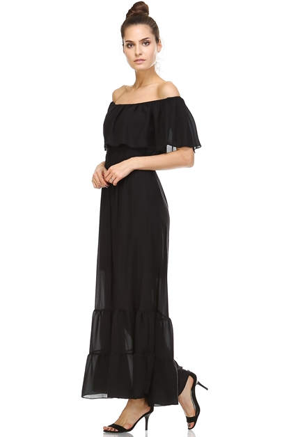 SHEER OFF-THE-SHOULDER MAXI DR - orangeshine.com