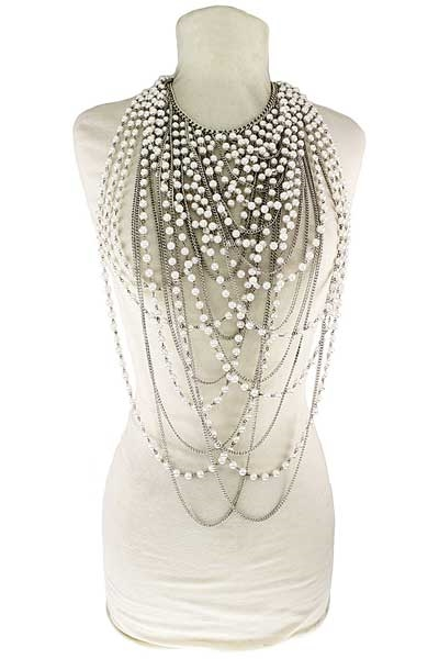 MULTI-LAYERED PEARL NECKLACE - orangeshine.com