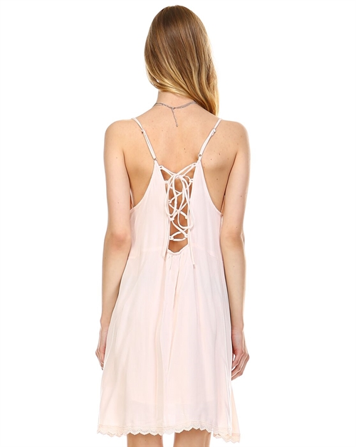 Cami dress with lace up back - orangeshine.com