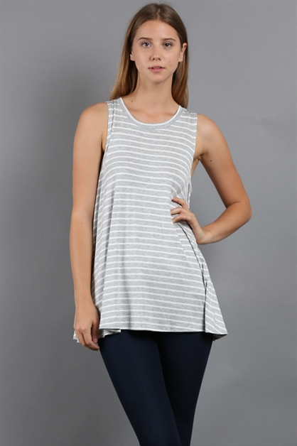 STRIPED SLEEVELESS TUNIC - orangeshine.com