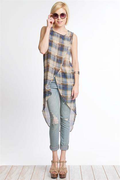 SL14974 PLAID MIDI TUNIC TOP - orangeshine.com