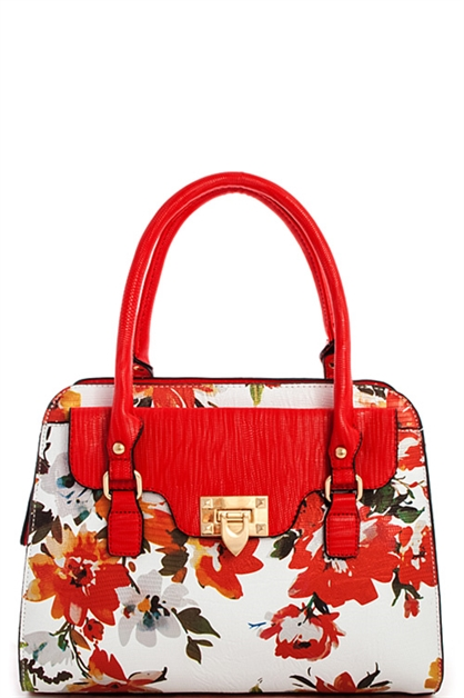 Two Tone Multi Flower Satchel - orangeshine.com