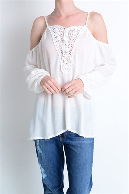 CROCHET TIE OPEN SHOULDER TOP - orangeshine.com