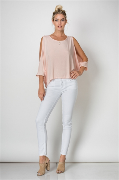 ROUND NECK TIE BACK TOP - orangeshine.com