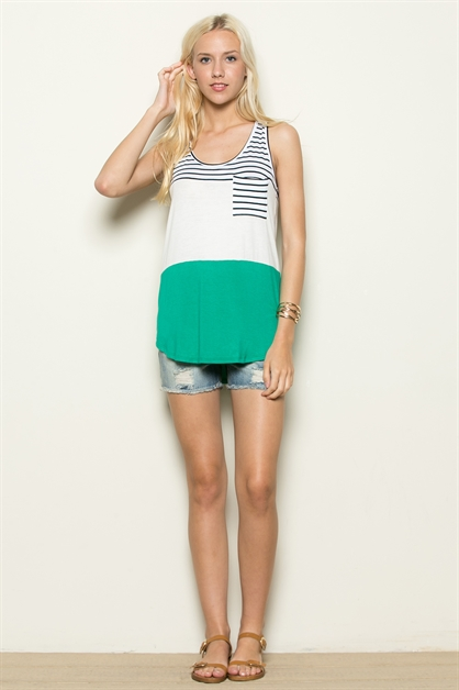 Color Block Sleeveless Top - orangeshine.com