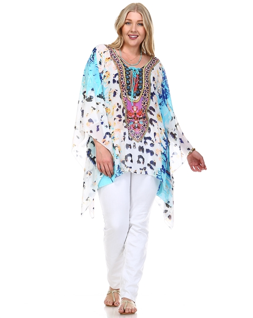 -Lace Up Neck Embellished Kaftan  - orangeshine.com