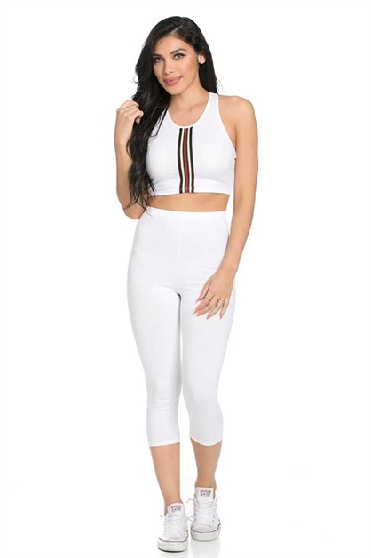 Elastic crop legging set - orangeshine.com