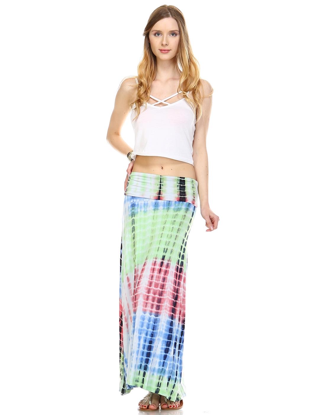 leshop wholesale tie dye maxi skirt orangeshine