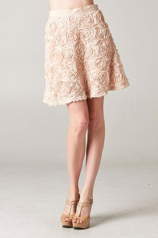 3D floral  textured skirt - orangeshine.com