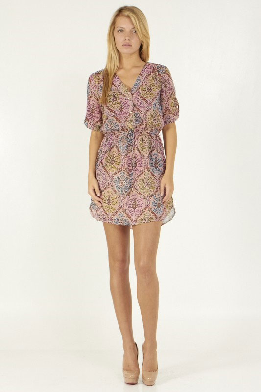 Half Sleeve V-Neck Print Dress - orangeshine.com