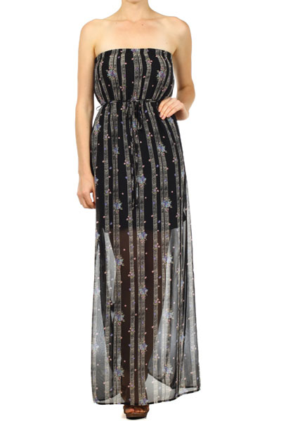 Sheer Stripe-Floral Maxi Dress - orangeshine.com